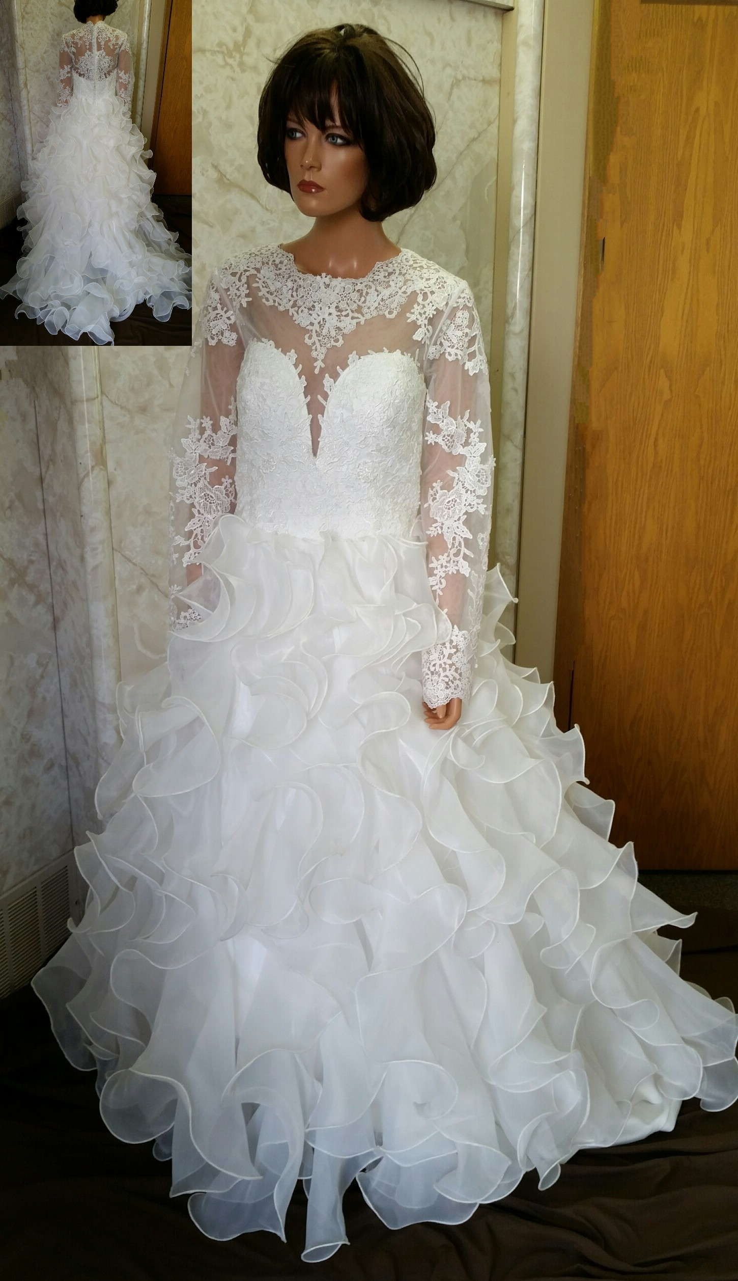 Sheer Lace Long Sleeve Wedding Dress