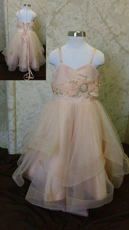 sherbet flower girl dress with jewels