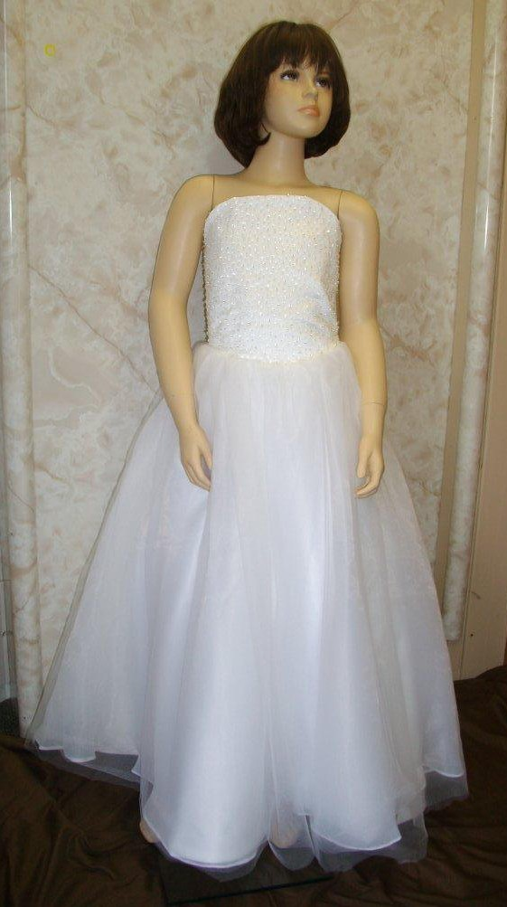 Strapless A line beaded bodice organza flower girl dress.