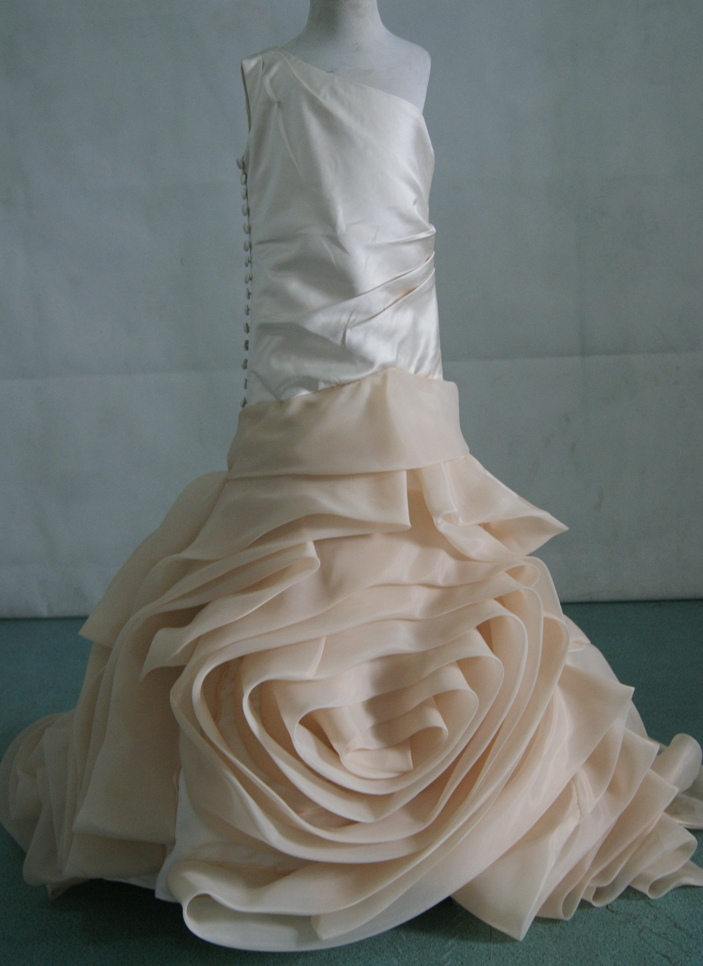 Little brides with rosette dresses for Matching wedding and flower girl dresses