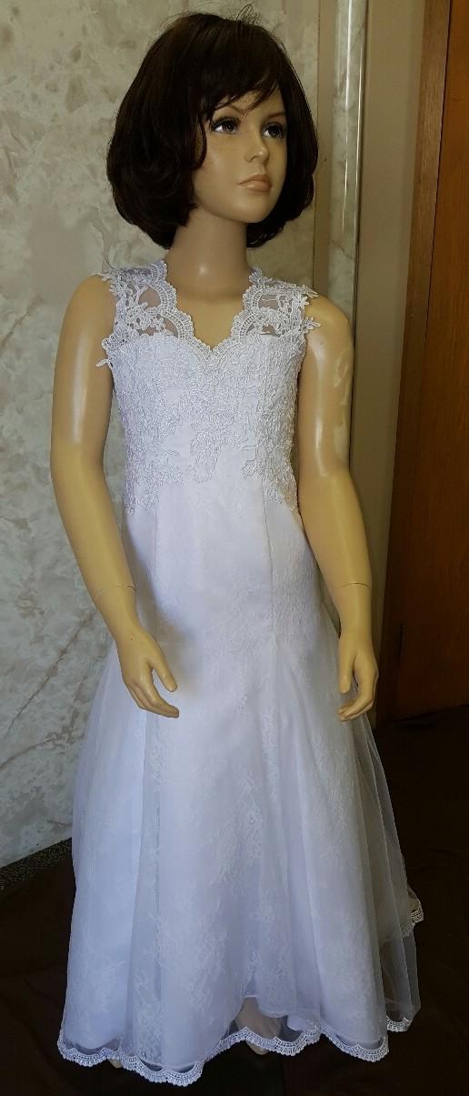 d7e9cba18 lace trumpet flower girl dress ...