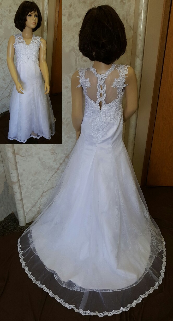 3770549ba Lace trumpet flower girl dress.