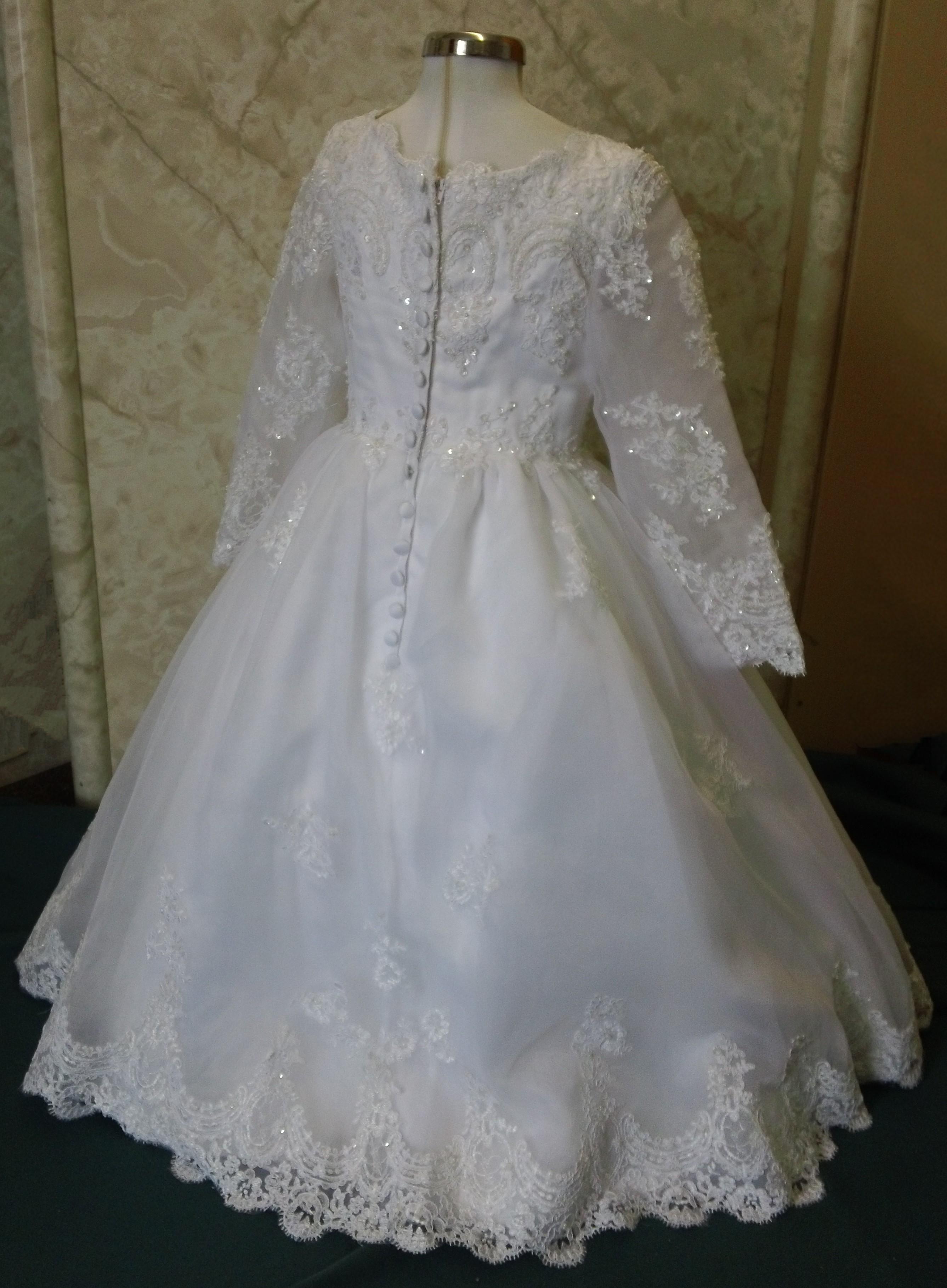 Long sleeve flower girl dress with scalloped lace white long sleeve scalloped mini wedding dress mightylinksfo