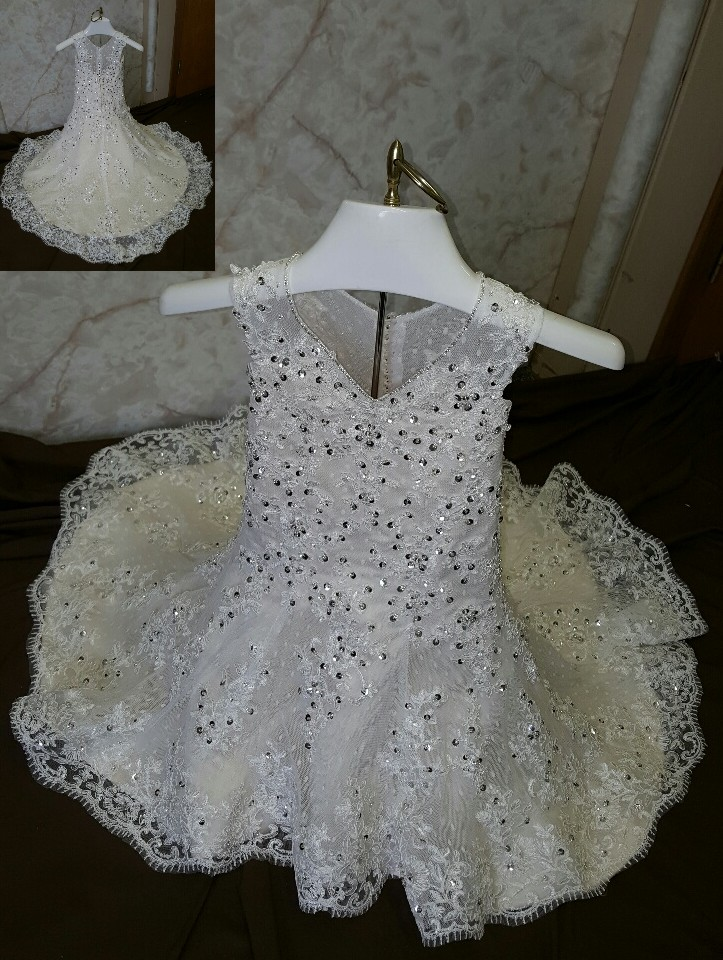 embellished tulle flower girl dress with train