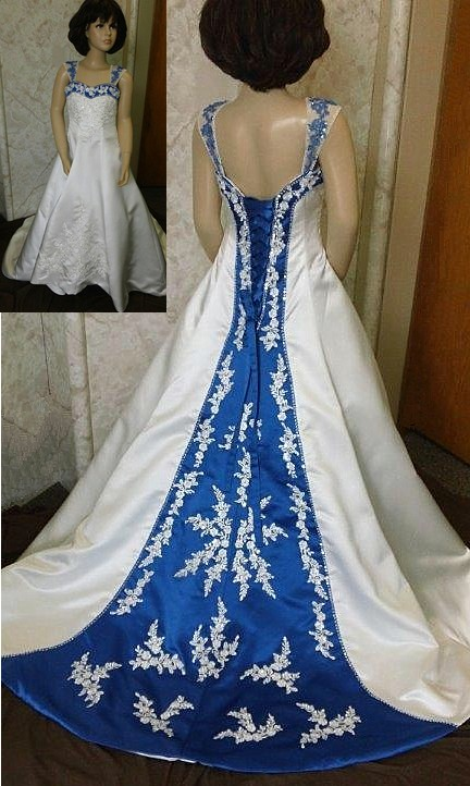 Wedding Dresses With Royal Blue Accents 14