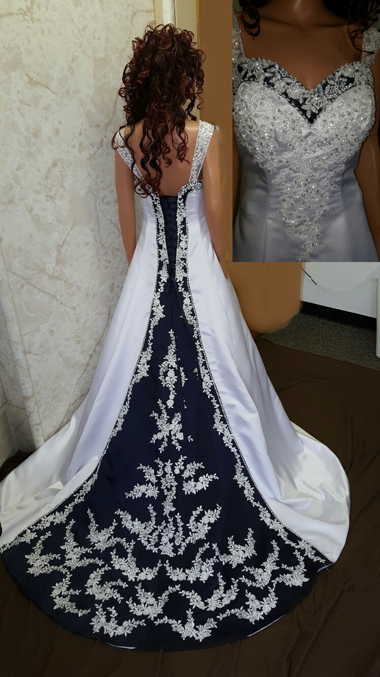 Dark blue and white wedding dress for White wedding dress with blue accents