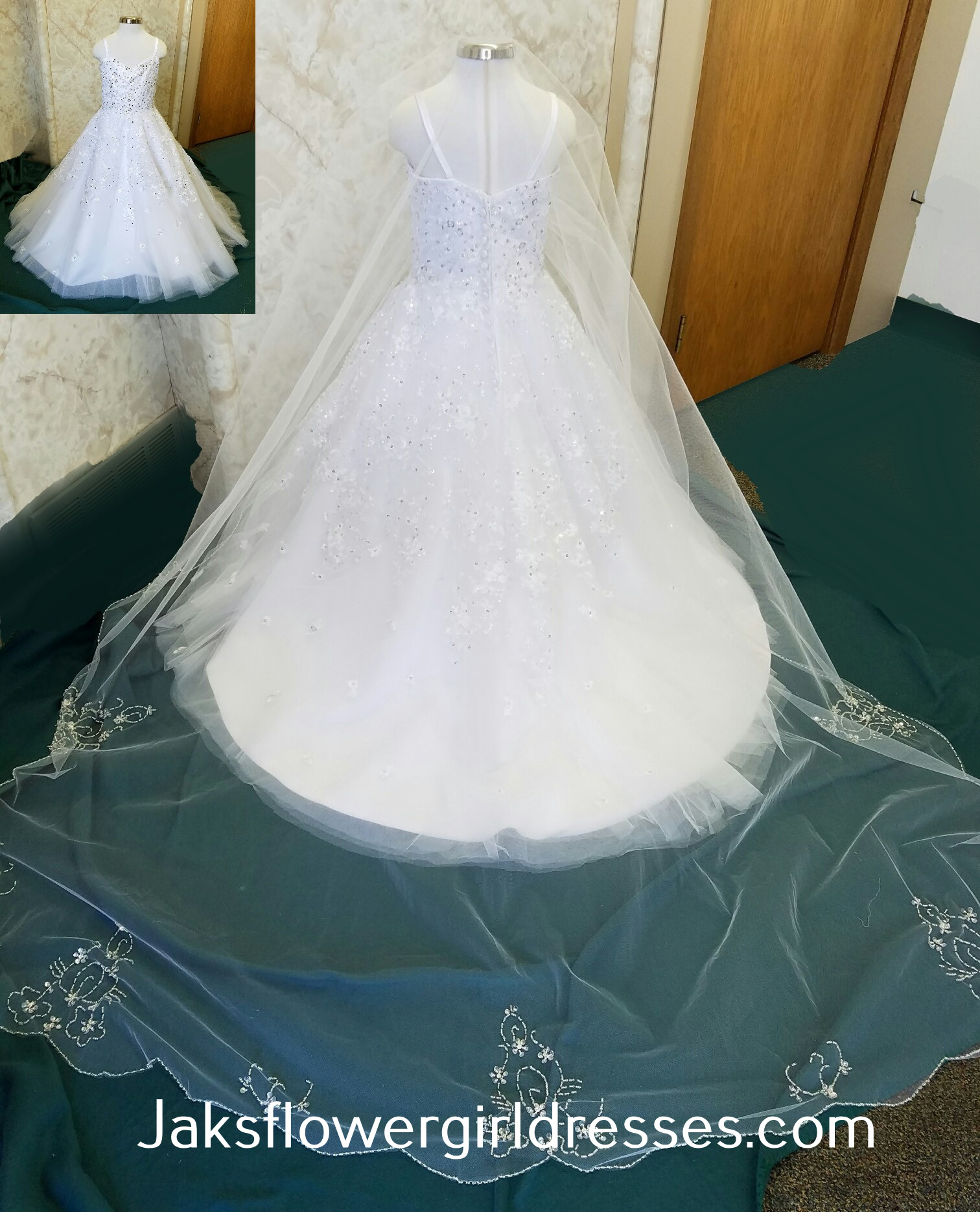White flower girl dress with cathedral veil