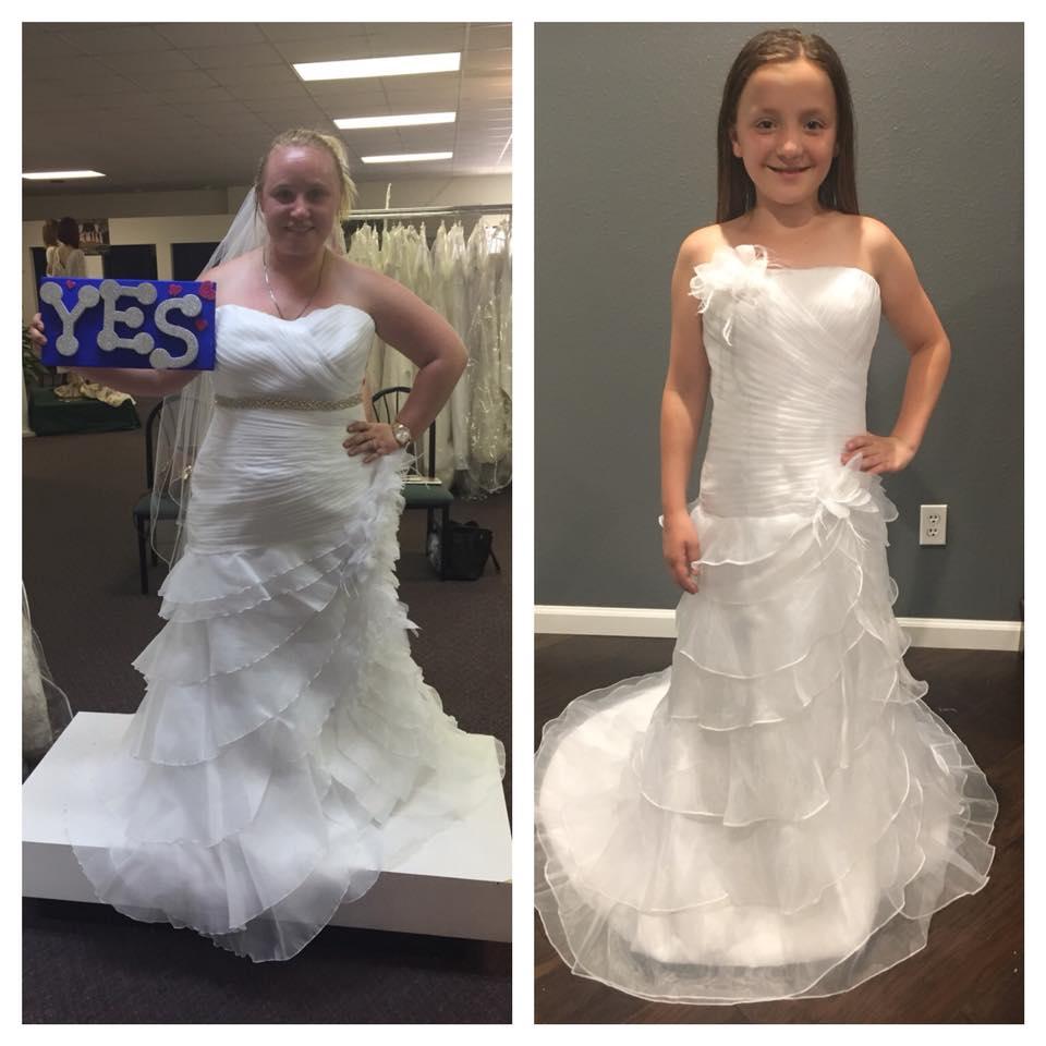 e831faf49c9 Flower girl dresses made to match the brides wedding dress.
