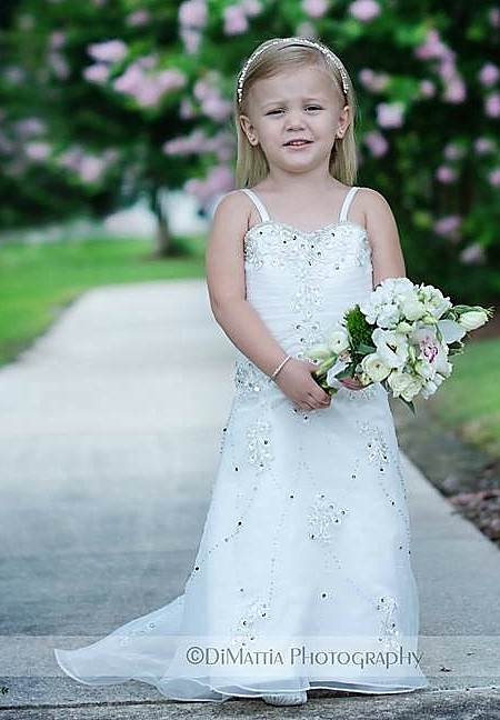 Infant and toddler wedding dresses.