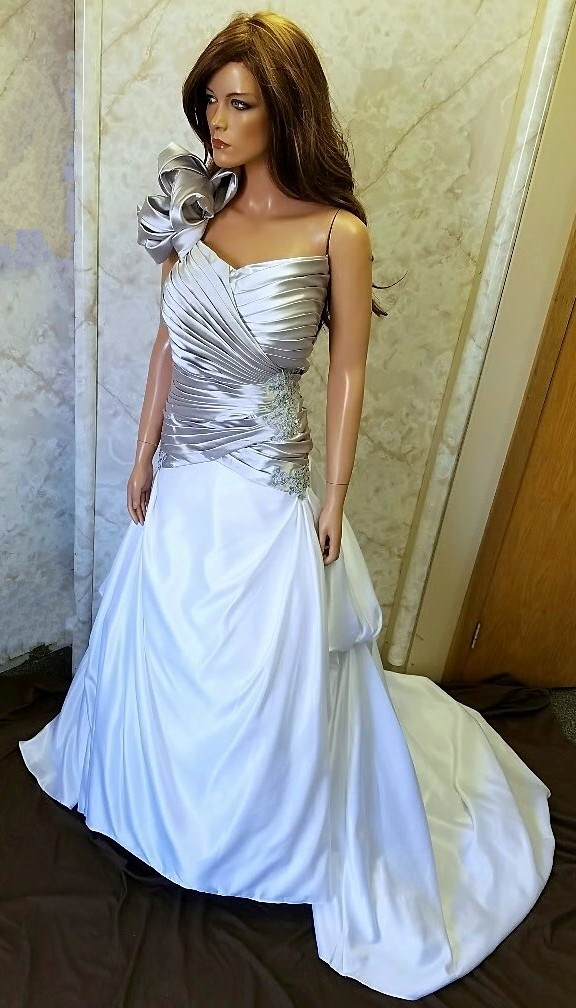 One shoulder wedding dress.