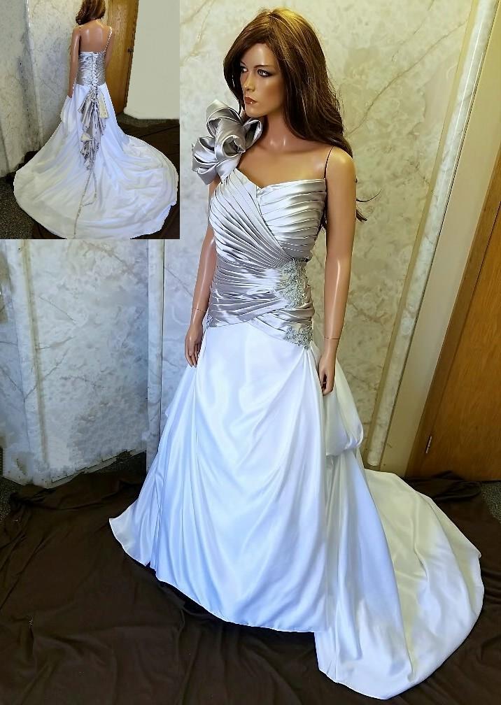 One shoulder wedding dress.