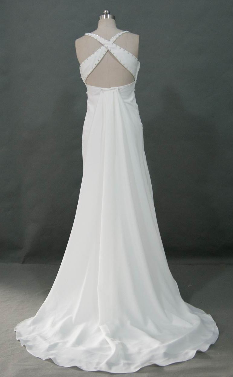 Square front with spaghetti straps for Cross back wedding dress