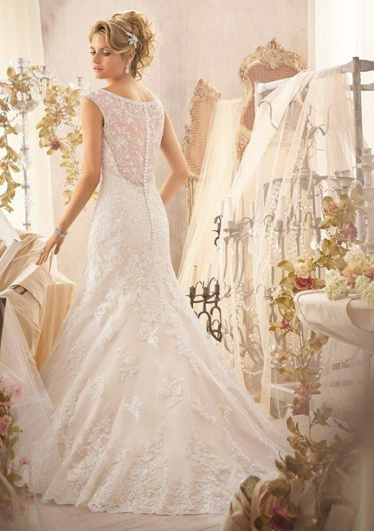 Fit and flare lace flower girl dress for How much do mori lee wedding dresses cost