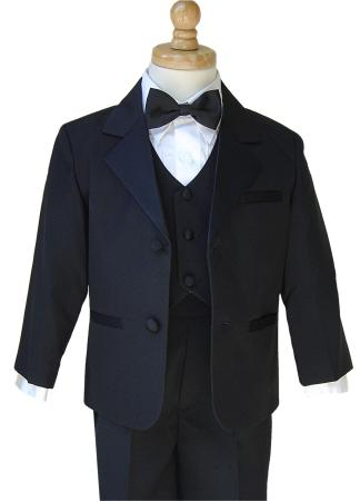 boys black tuxedo, jacket, pants, vest, shirt and bow tie