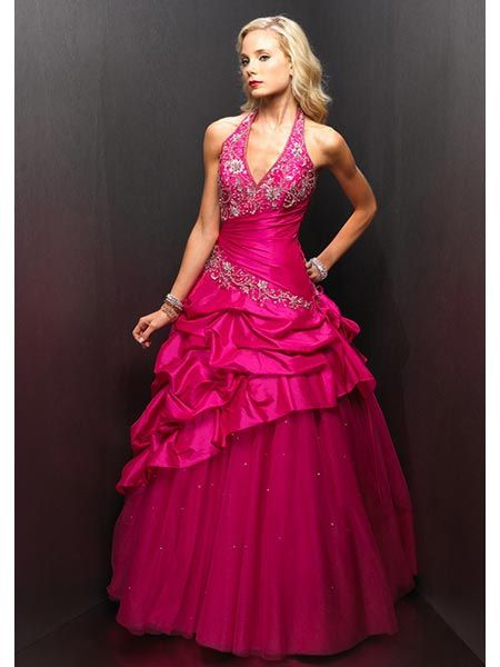 quinceanera halter pick up dress