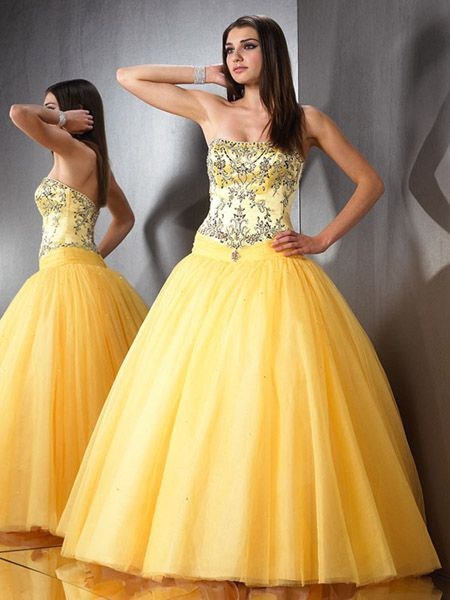 yellow prom beaded ball gown