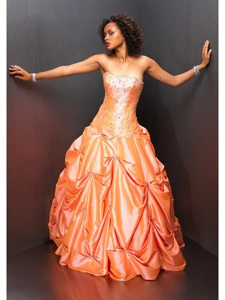 orange Pageant Ball Gown