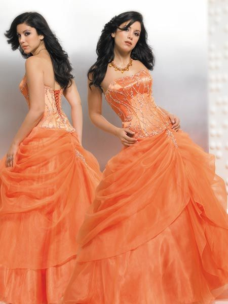 Orange Quinceanera Ball gowns