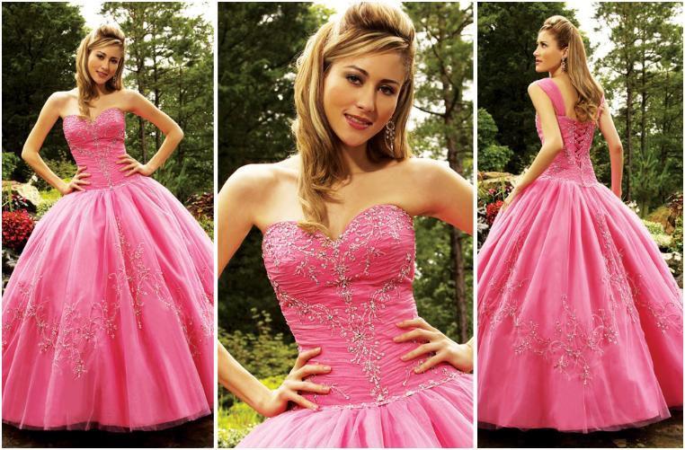 Bubble Pink taffeta strapless sweetheart prom dress.
