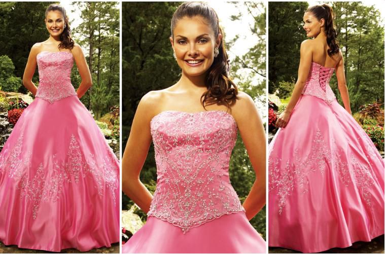 pink sweetheart strapless quinceanera dress