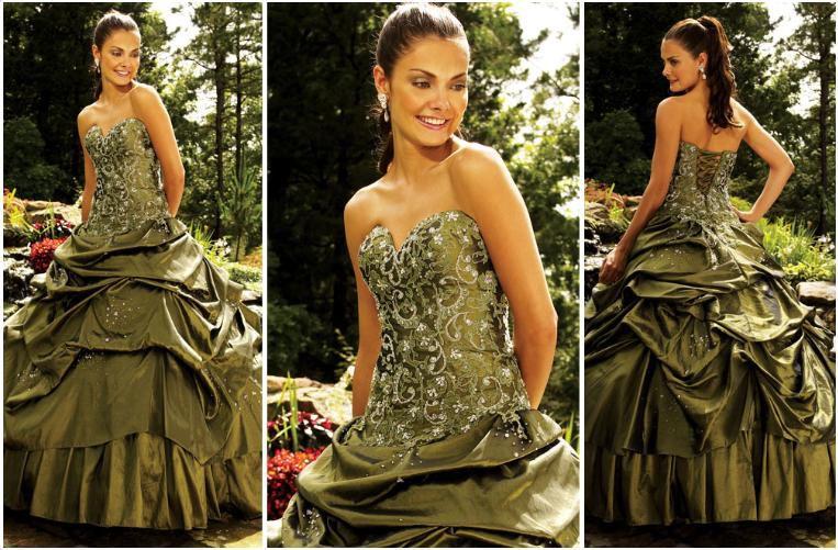 Moss green evening dress