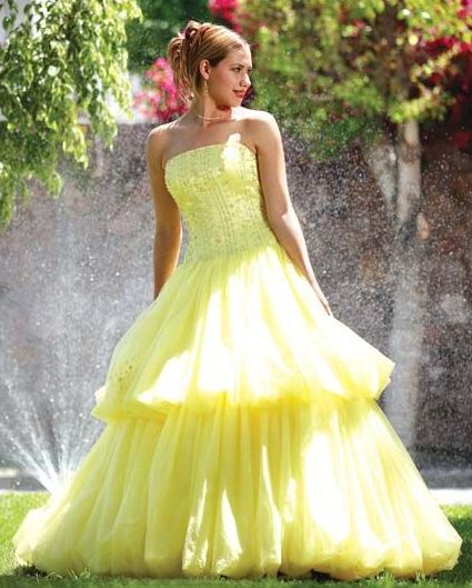 yellow bubble prom dress