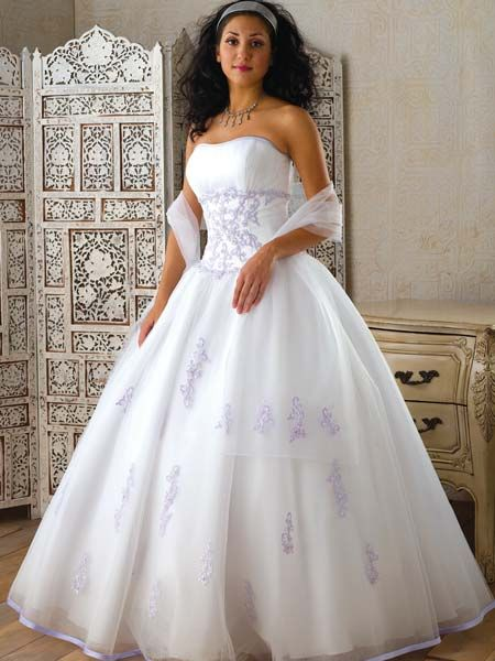 white satin and tulle gown