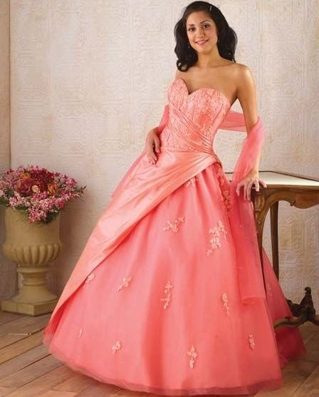 Salmon Quinceanera Ball Gown