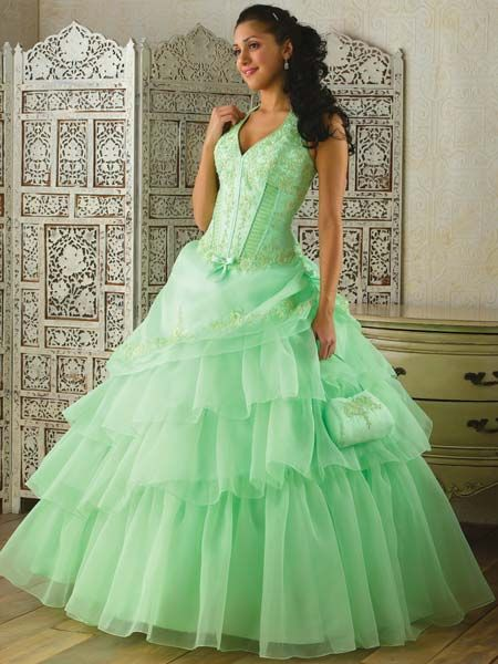 Green Organza Quinceanera Dresses