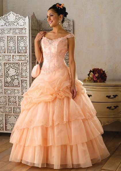off shoulder sweetheart ball gown