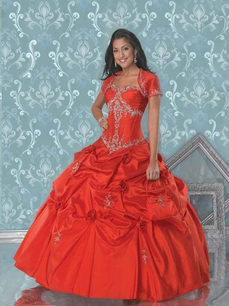 red fitted ball gown
