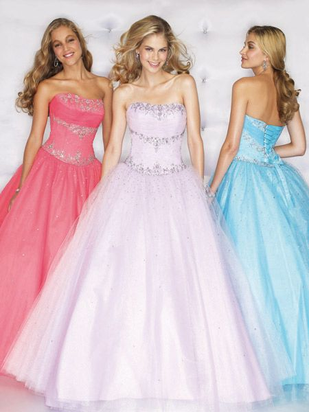 Strapless Ball gowns in watermelon, blue, white