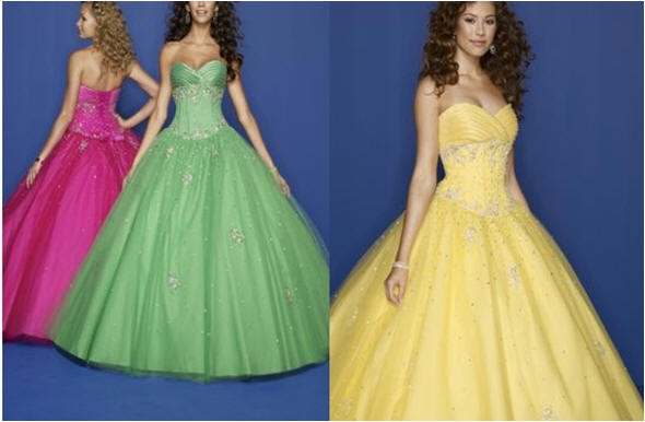 pink lime green yellow strapless prom dress