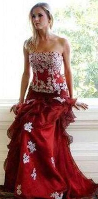 red strapless quinceanera dress