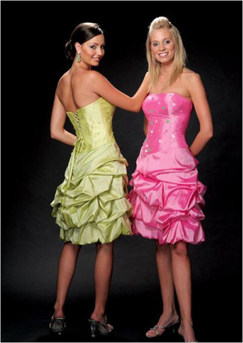 pink and green strapless satin bubble dress short cocktail dresses