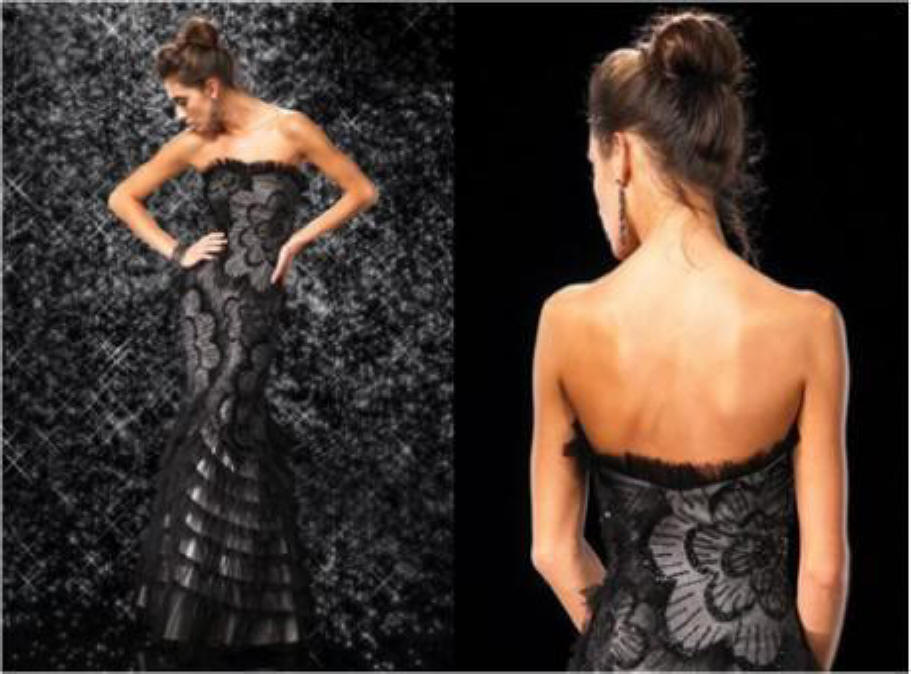 black tango evening dress