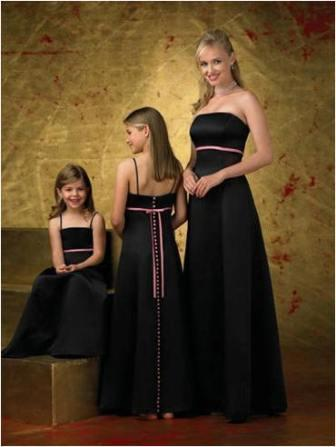 black and pink bridesmaid dresses