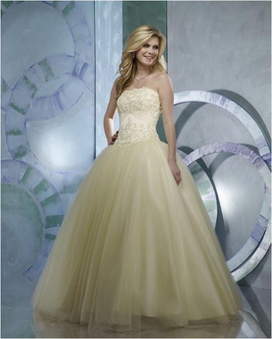 Soft yellow ball gown.