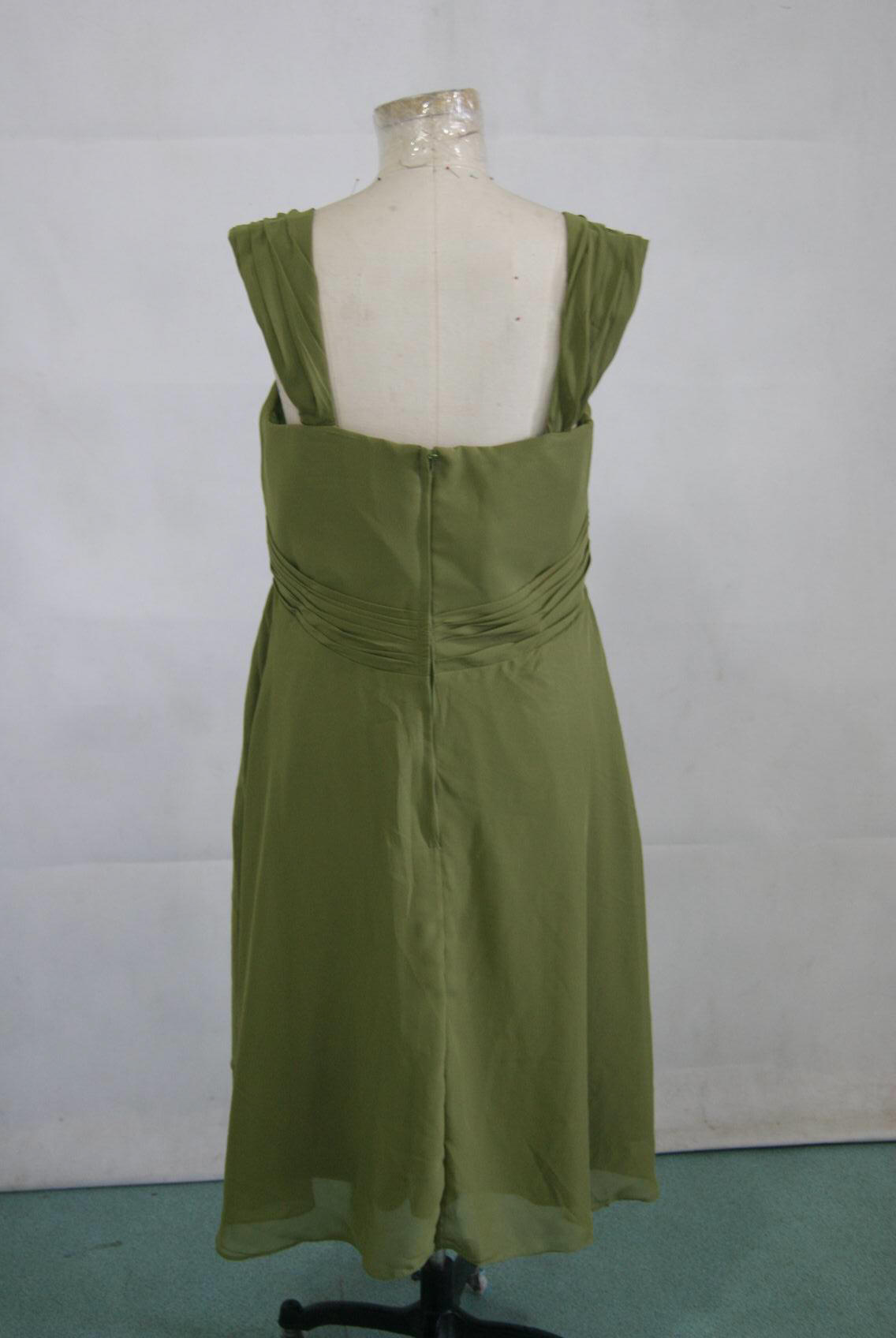 Short brown sweetheart chiffon bridesmaid dress for Olive green wedding dresses