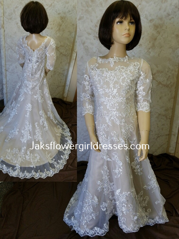 lace sleeve flower girl dress