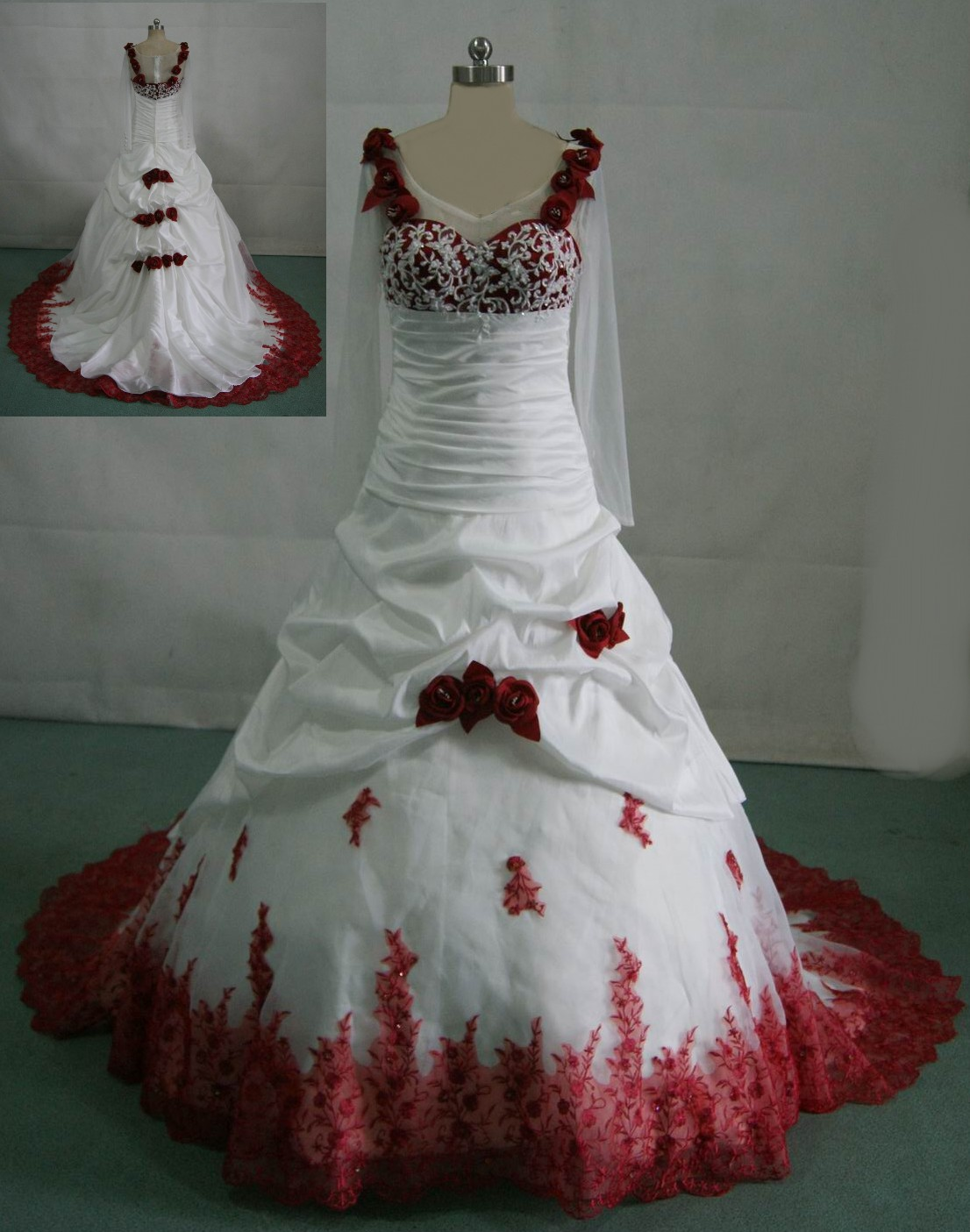 Bridal gowns with color colorful wedding dresses White wedding gown with red roses on the dress