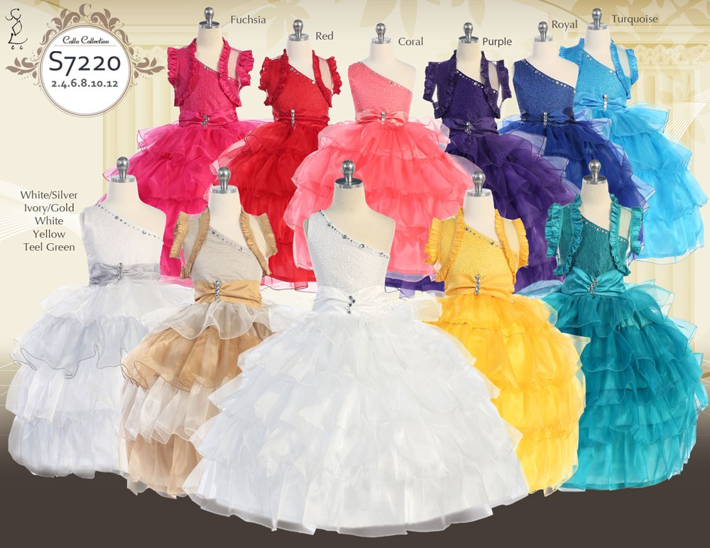 Pageant One shoulder dresses with sheer ruffled bolero