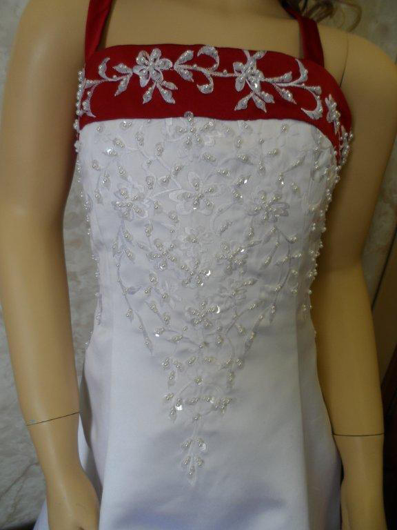 white and apple red miniature wedding dress