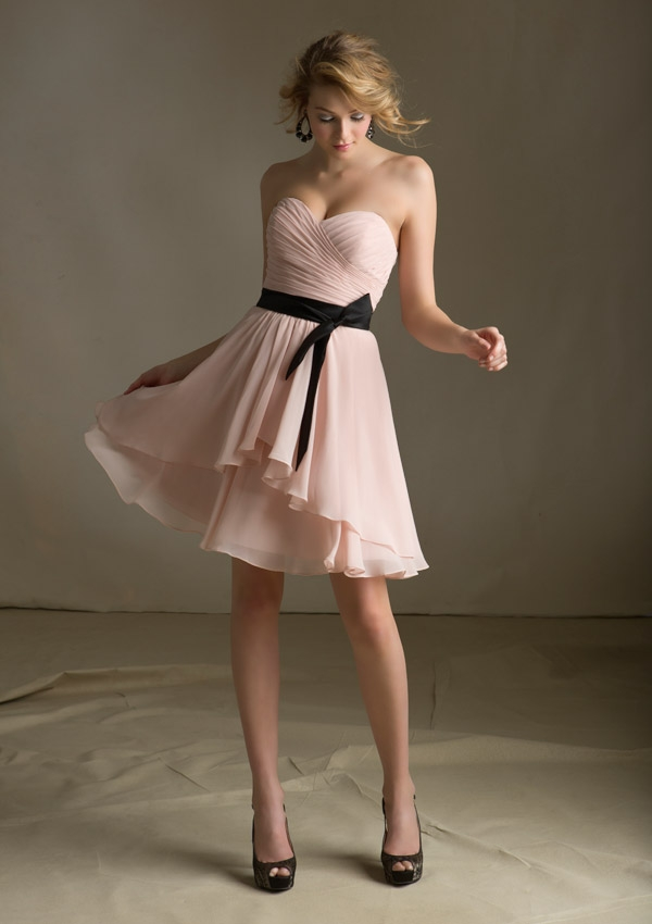 4a7eb3372b5 Short Chiffon Pleated Ruffle Bridesmaid Dress ...