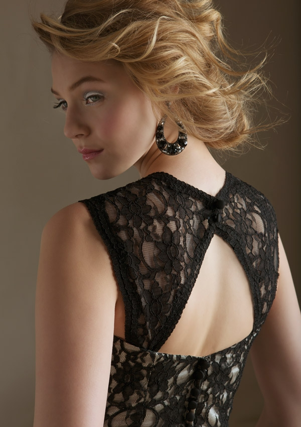 Black Lace open back short bridesmaid dress