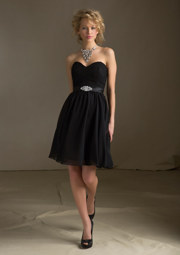 Black bridesmaid dresses.