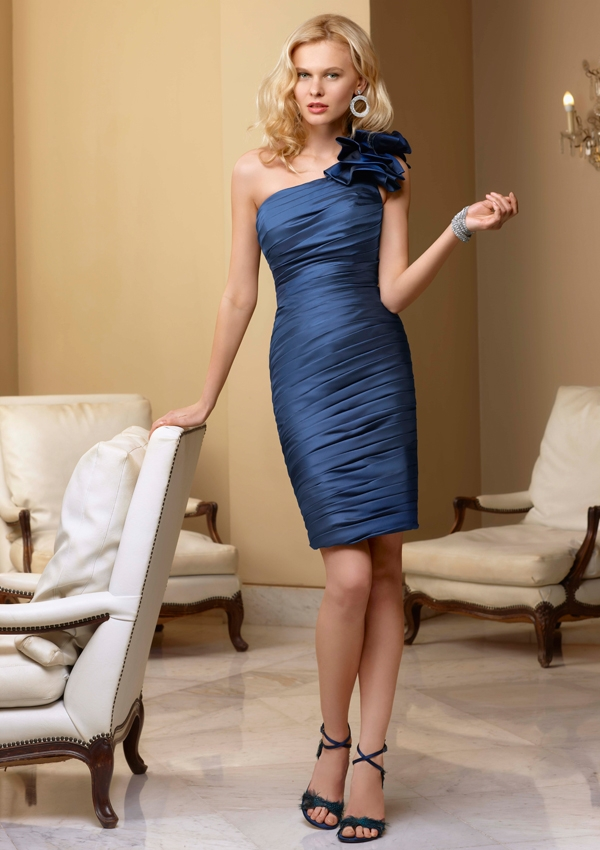 short one shoulder bridesmaid dress