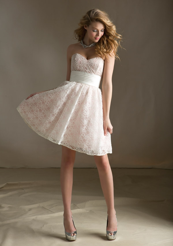 Strapless Sweetheart Lace Dress With Pleated Waistband