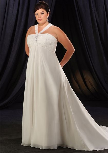 Plus size halter top wedding dresses