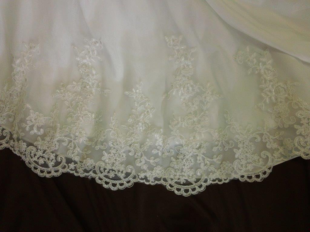 Wedding dress cascading bustles for Matching wedding and flower girl dresses